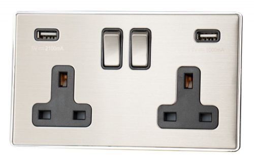 G&H LSS3910 Screwless Brushed Steel 2 Gang Double 13A Switched Plug Socket 2.1A USB
